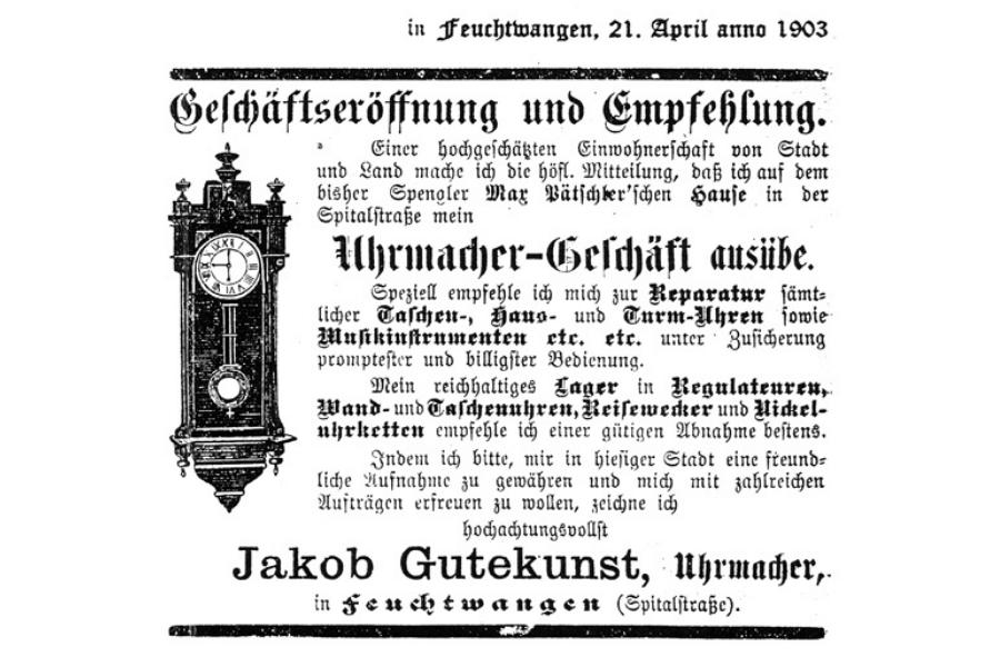Eröffnungsanzeige Uhrenladen Gutekunst in Feuchtwangen